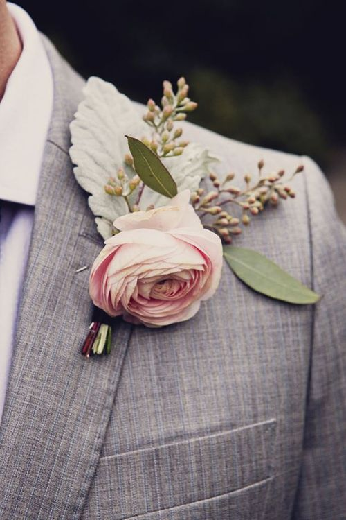 Pink Buttonhole For Groom
