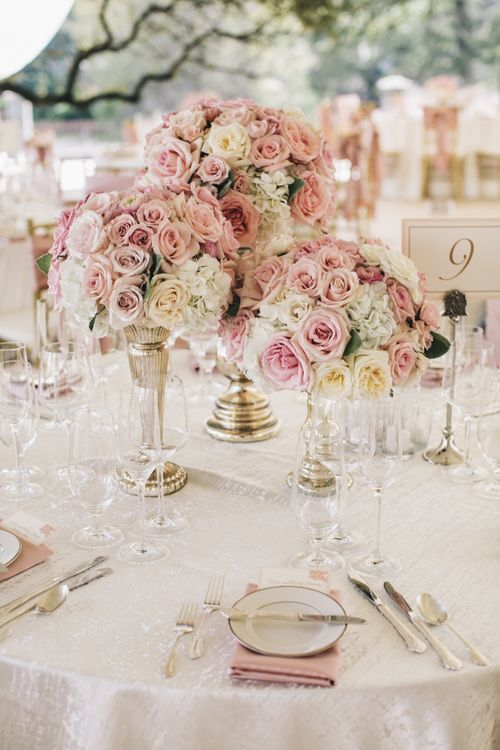 Pink & Metallic Floral Table Centrepieces For Wedding