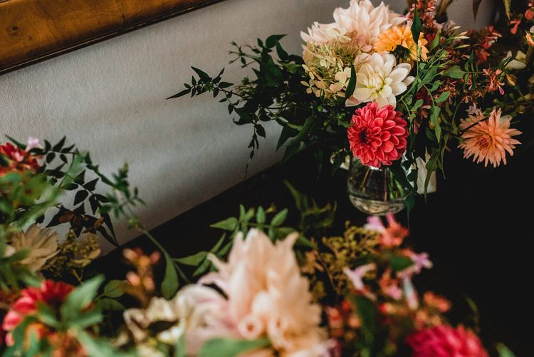 Seasonal Wedding Flowers Grown In The UK // Tree Copse Wedding Ceremony // Farm Wedding Venue Cornwall // Embellished Jenny Packham Gown Marquee Wedding At Coombeshead Farm Cornwall The Garden Gate Flower Co Planning Jenny Wren Events Images Barney Walters Photography