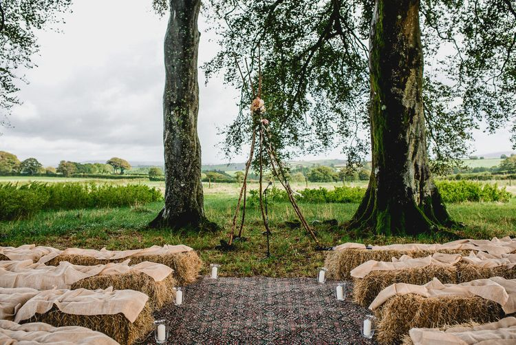 Tree Copse Wedding Ceremony // Farm Wedding Venue Cornwall // Embellished Jenny Packham Gown Marquee Wedding At Coombeshead Farm Cornwall The Garden Gate Flower Co Planning Jenny Wren Events Images Barney Walters Photography