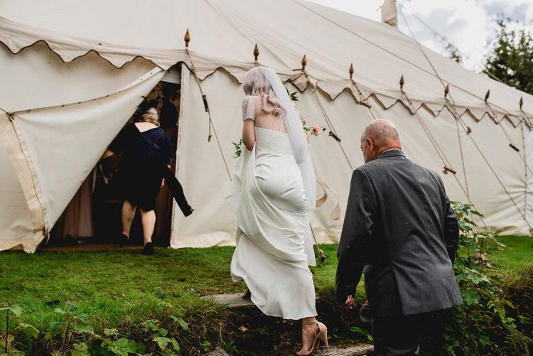Embellished Jenny Packham Gown Marquee Wedding At Coombeshead Farm Cornwall The Garden Gate Flower Co Planning Jenny Wren Events Images Barney Walters Photography