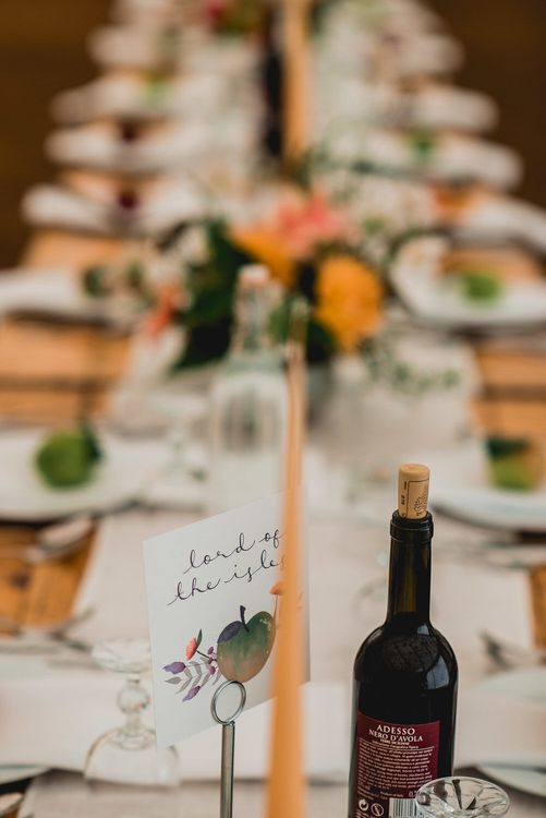 Rustic Wedding Decor For Wooden Trestle Tables / Floral Lined Marquee For Wedding // Embellished Jenny Packham Gown Marquee Wedding At Coombeshead Farm Cornwall The Garden Gate Flower Co Planning Jenny Wren Events Images Barney Walters Photography