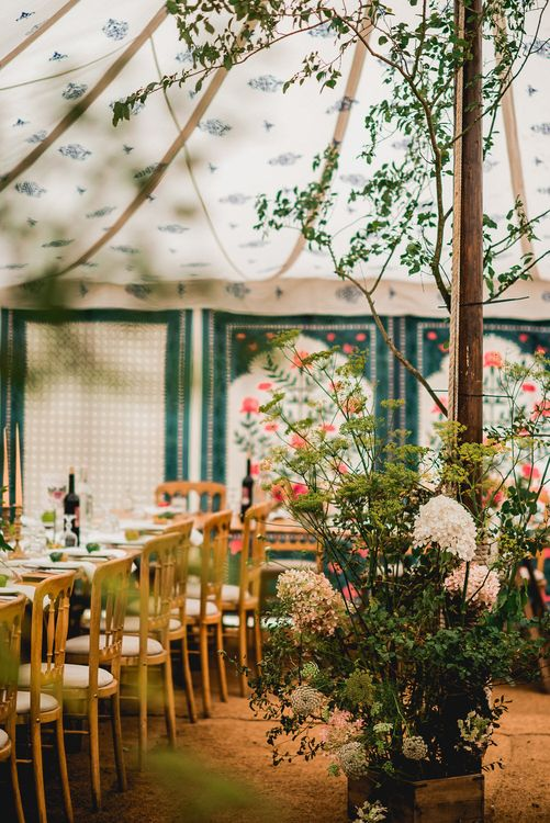 Floral Lined Marquee For Wedding // Embellished Jenny Packham Gown Marquee Wedding At Coombeshead Farm Cornwall The Garden Gate Flower Co Planning Jenny Wren Events Images Barney Walters Photography