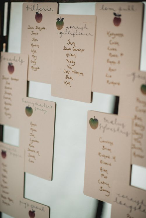Illustrated Table Plan For Wedding // Embellished Jenny Packham Gown Marquee Wedding At Coombeshead Farm Cornwall The Garden Gate Flower Co Planning Jenny Wren Events Images Barney Walters Photography