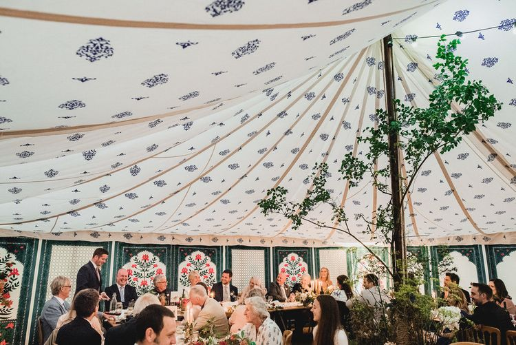 Floral Lined Marquee // Embellished Jenny Packham Gown Marquee Wedding At Coombeshead Farm Cornwall The Garden Gate Flower Co Planning Jenny Wren Events Images Barney Walters Photography