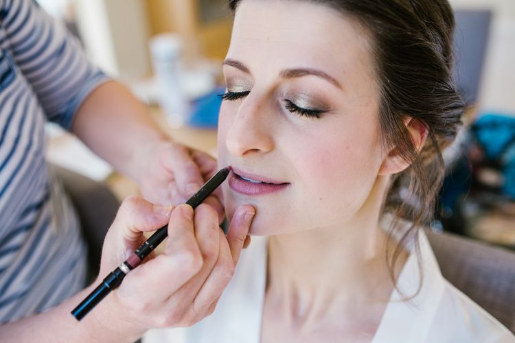 Bridal Makeup | DIY Wedding at Upwaltham Barns with Bright Flowers | Danielle Victoria Photography