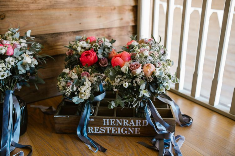 Peony, Rose & Foliage Wedding Bouquets with Ribbon | DIY Wedding at Upwaltham Barns with Bright Flowers | Danielle Victoria Photography