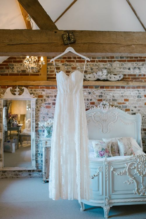 Sarah Seven Bridal Gown | DIY Wedding at Upwaltham Barns with Bright Flowers | Danielle Victoria Photography