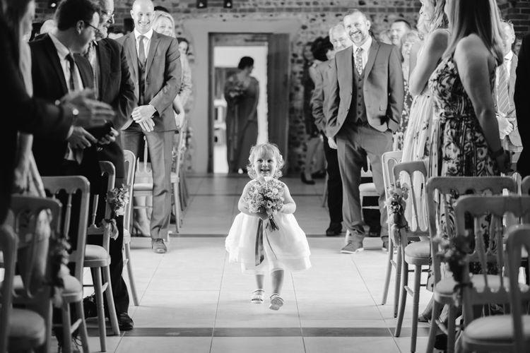 Wedding Ceremony | Flower Girl | DIY Wedding at Upwaltham Barns with Bright Flowers | Danielle Victoria Photography
