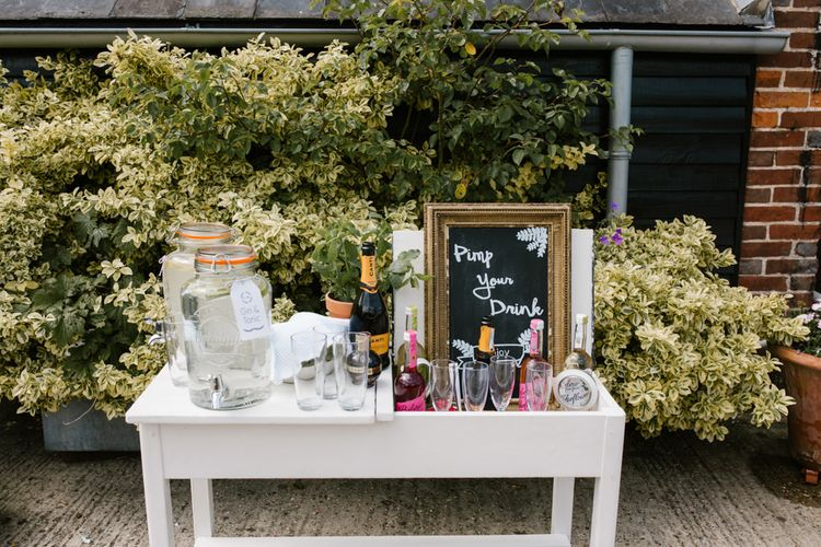 Pink Your Drink Station | DIY Wedding at Upwaltham Barns with Bright Flowers | Danielle Victoria Photography