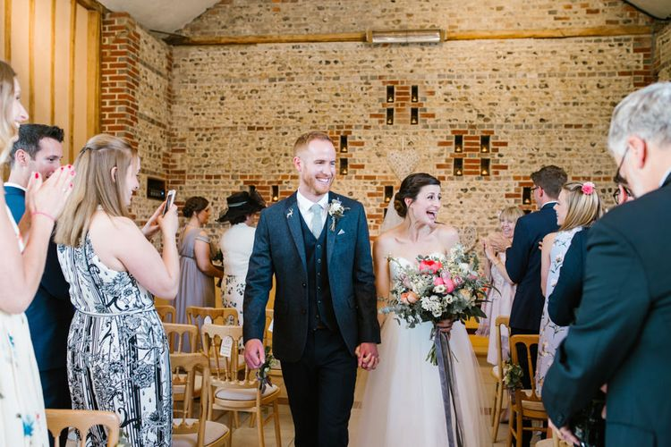 Wedding Ceremony | Bride in Sarah Seven Gown | Groom in Ted Baker & Next | DIY Wedding at Upwaltham Barns with Bright Flowers | Danielle Victoria Photography