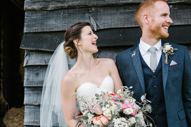 Bride in Sarah Seven Gown | Groom in Ted Baker & Next | DIY Wedding at Upwaltham Barns with Bright Flowers | Danielle Victoria Photography