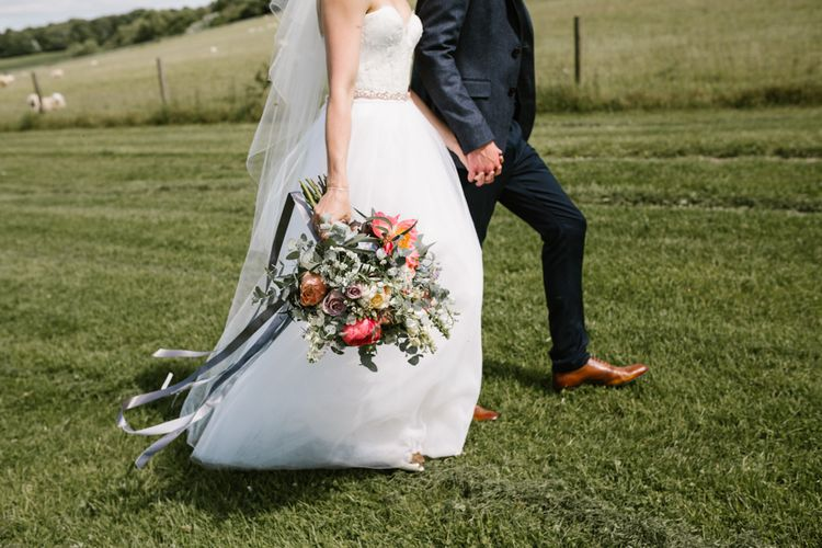 Coral Peony Bouquet | Bride in Sarah Seven Gown | Groom in Ted Baker & Next | DIY Wedding at Upwaltham Barns with Bright Flowers | Danielle Victoria Photography