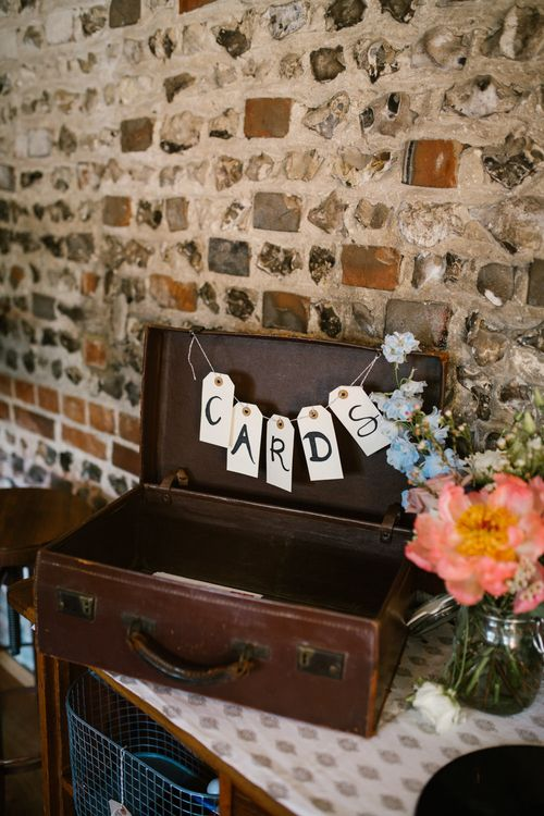 Vintage Suitcase Wedding Decor | DIY Wedding at Upwaltham Barns with Bright Flowers | Danielle Victoria Photography