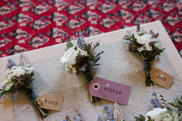 Buttonholes | DIY Wedding at Upwaltham Barns with Bright Flowers | Danielle Victoria Photography