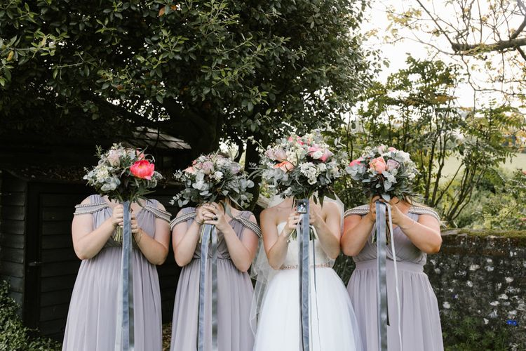 Pink Peony & Eucalyptus Bouquets with Ribbon | Bridesmaids in Grey ASOS Dresses | Bride in Sarah Seven Gown | DIY Wedding at Upwaltham Barns with Bright Flowers | Danielle Victoria Photography
