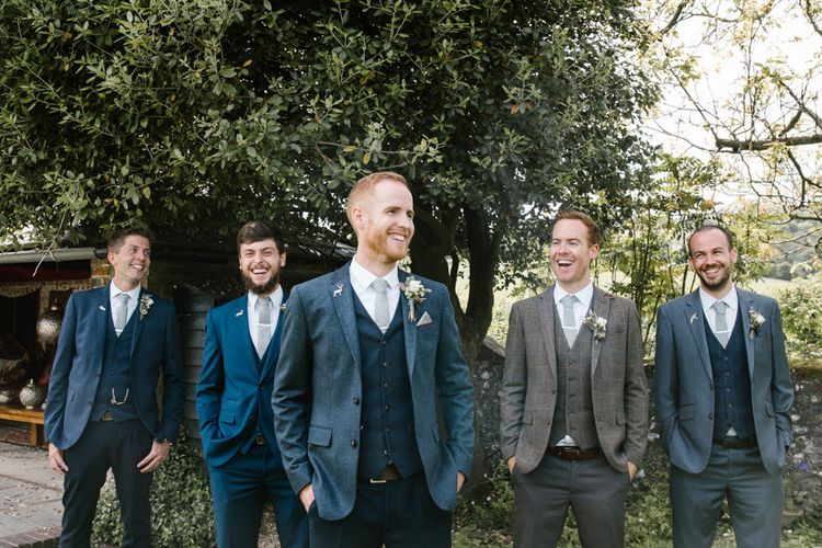 Groomsmen | Ted Baker & Next Fashion | DIY Wedding at Upwaltham Barns with Bright Flowers | Danielle Victoria Photography