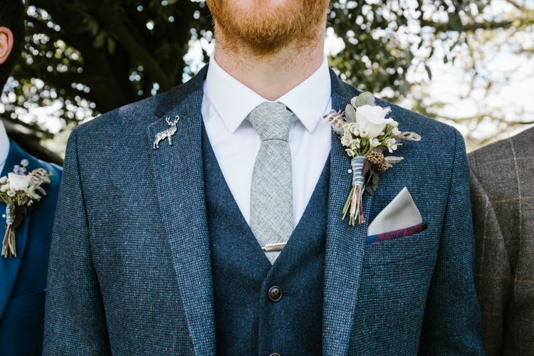 Groom in Ted Baker Jacket & Next Waistcoat & Tie | DIY Wedding at Upwaltham Barns with Bright Flowers | Danielle Victoria Photography