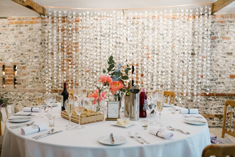 Origami Paper Crane Backdrop | DIY Wedding at Upwaltham Barns with Bright Flowers | Danielle Victoria Photography