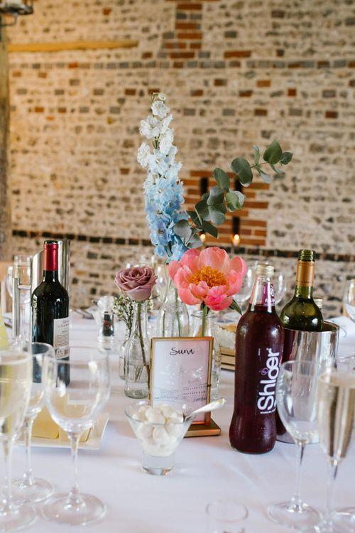 Flower Stem Centrepiece | DIY Wedding at Upwaltham Barns with Bright Flowers | Danielle Victoria Photography