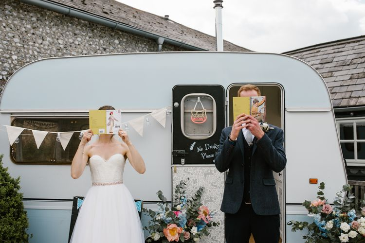 Vintage Caravan Photo Booth | DIY Wedding at Upwaltham Barns with Bright Flowers | Danielle Victoria Photography