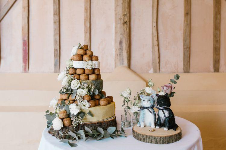 Pork Pie Tower Wedding Cake | DIY Wedding at Upwaltham Barns with Bright Flowers | Danielle Victoria Photography