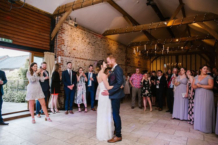 First Dance | Bride in Sarah Seven Gown | Groom in Ted Baker & Next | DIY Wedding at Upwaltham Barns with Bright Flowers | Danielle Victoria Photography