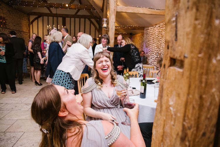 Bridesmaids in ASOS Dresses | DIY Wedding at Upwaltham Barns with Bright Flowers | Danielle Victoria Photography