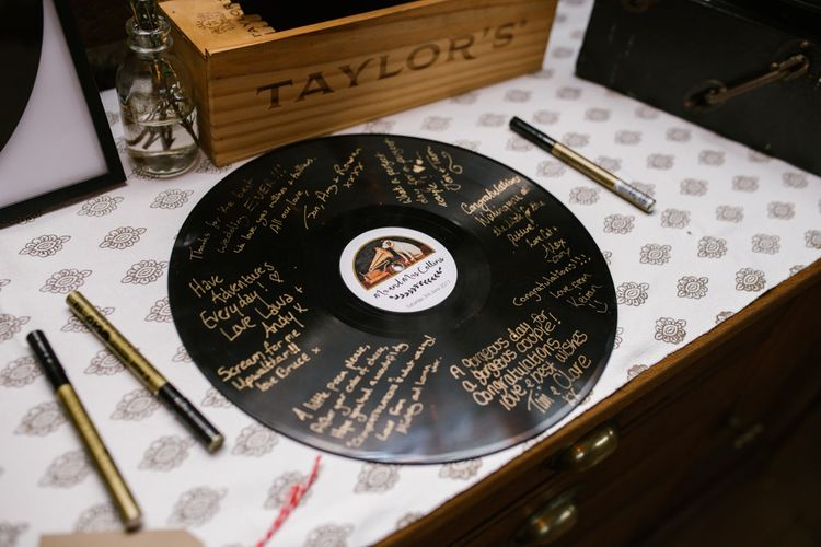 Record Guest Book | DIY Wedding at Upwaltham Barns with Bright Flowers | Danielle Victoria Photography