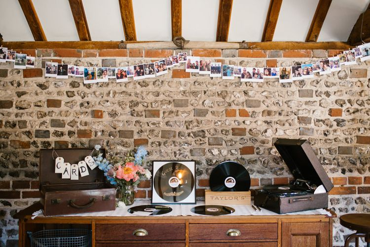 Record Guest book & Vintage Suitcase Card Box Wedding Decor | DIY Wedding at Upwaltham Barns with Bright Flowers | Danielle Victoria Photography
