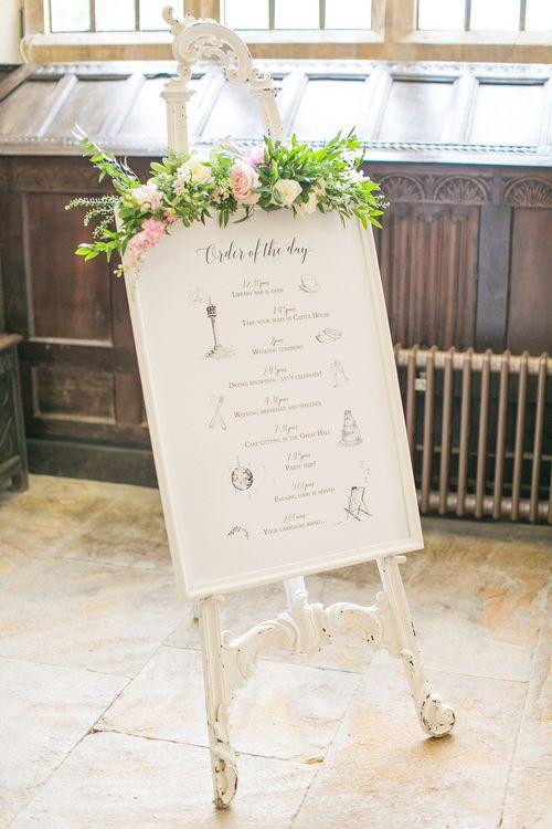 Elegant Order Of The Day Sign For Wedding