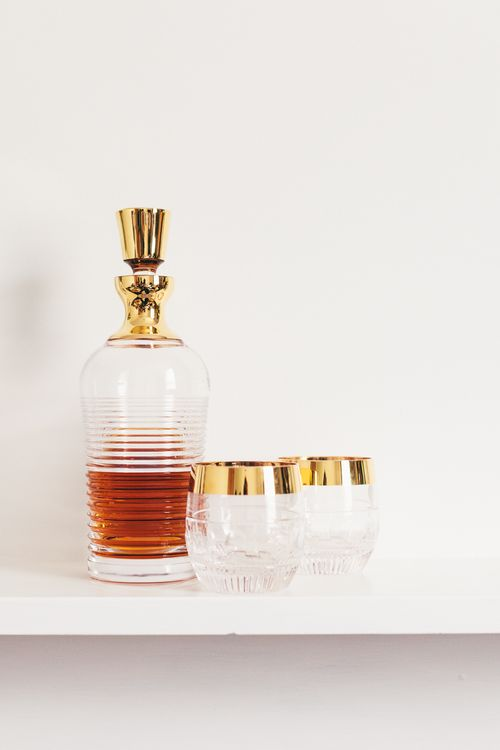 Crystal Decanter with Gold Detail