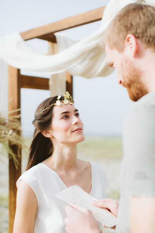 Gold Littlethings Headpiece | Bride in Alessia Baldi Gown | Cristina Firotto Event Design | Valentina Oprandi Photography