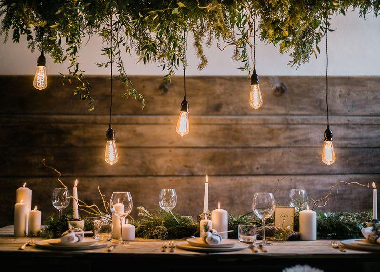 Edison Bulb Installation For Stylish Winter Wedding Inspiration