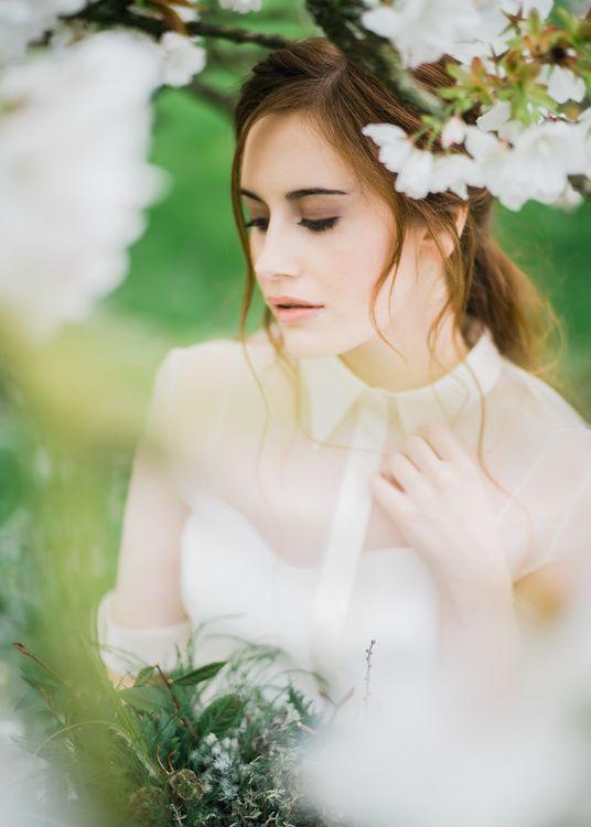 Stylish Wedding Dress With Collar