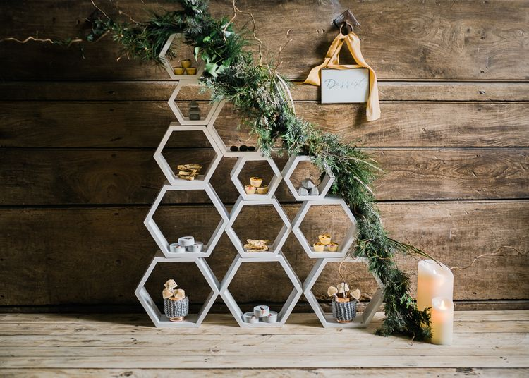 Geometric Dessert Table For Wedding