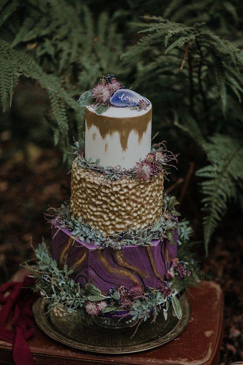 Honey Bee Bakes Purple & Gold Wedding Cake | Woodland Bohemian Luxe Inspiration | Lola Rose Photography & Film