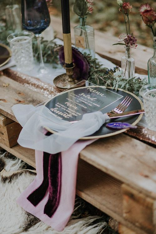 Place Setting with Perspex Wedding Stationery by Sugar Spice Designs | Woodland Bohemian Luxe Inspiration | Lola Rose Photography & Film