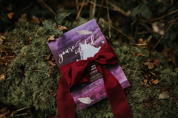 Purple & Gold Wedding Stationery by Sugar Spice Designs | Woodland Bohemian Luxe Inspiration | Lola Rose Photography & Film