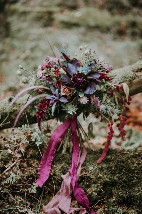 Deep Red Bridal Bouquet | Woodland Bohemian Luxe Inspiration | Lola Rose Photography & Film
