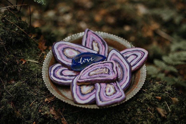 Purple Stone Wedding Decor | Woodland Bohemian Luxe Inspiration | Lola Rose Photography & Film