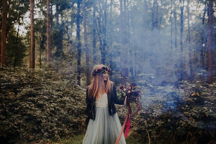 Bride in Blue Tulle Skirt from Rock The Frock Bridal | Woodland Bohemian Luxe Inspiration | Lola Rose Photography & Film