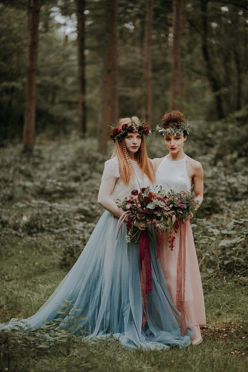 Bridesmaids in Blue & Pink Tulle Skirts | Woodland Bohemian Luxe Inspiration | Lola Rose Photography & Film