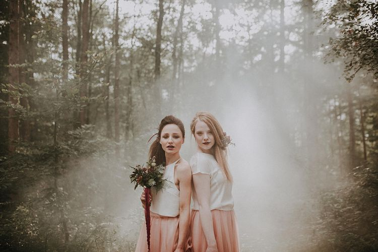 Bridesmaids in Blush Pink Tulle Skirts | Woodland Bohemian Luxe Inspiration | Lola Rose Photography & Film