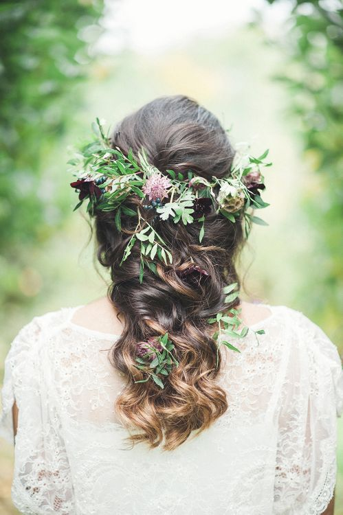 Fishtail Braid With Foliage & Fresh Flowers For Bride