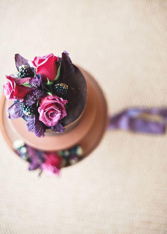Chocolate Wedding Cake With Fresh Flowers