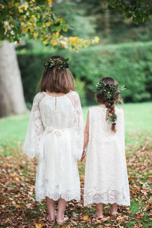 Flower Girls In White Lace Dresses By Minna
