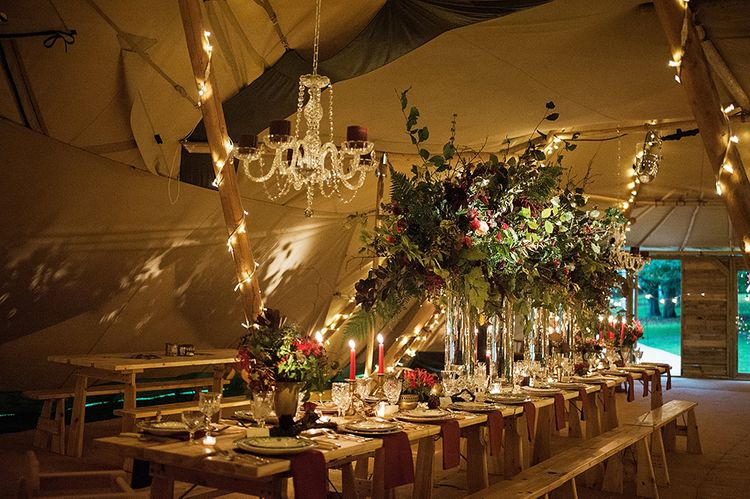 Winter Tipi Set Up With Chandelier From Coastal Tents
