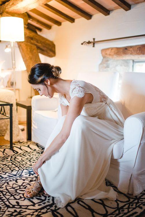 Bride in Laure de Sagazan Wedding Dress & Minelli Shoes