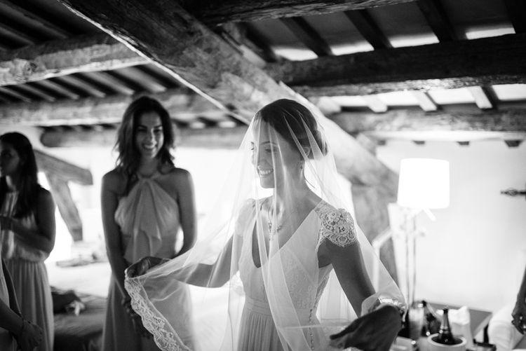 Bride in Laure de Sagazan Wedding Dress